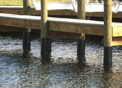 Wrapped Pilings For Docks Naples Marine Construction